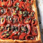 Puff Pastry Tomato Tart after baking. not yet cut in squares p