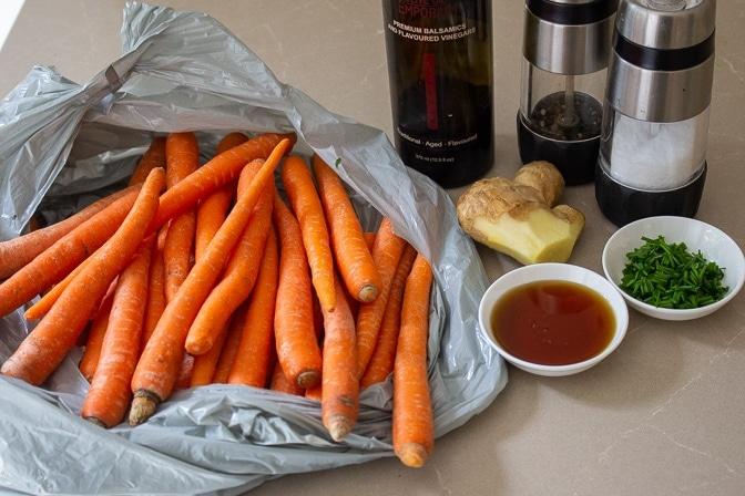 carrots, balsamic vinegar, maple syrup, ginger, salt, lime juice