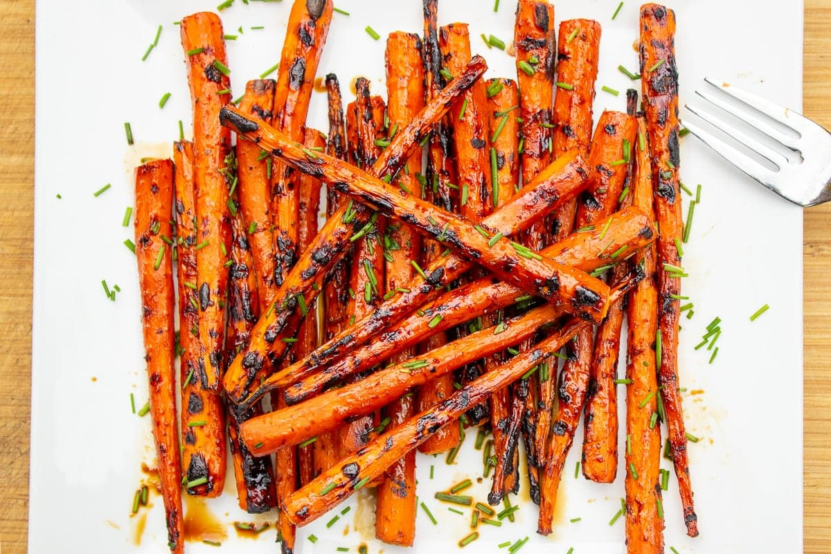grilled balsamic glazed carrots on plate ff