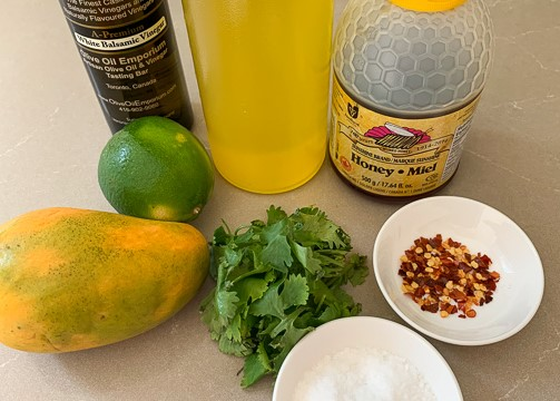 Mango Salad Dressing ingredients - mango, cilantro, lime, salt, honey, oil, chili peppers