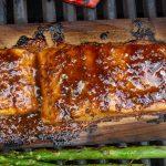 maple glazed salmon on cedar planks on grill