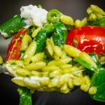 forkful of pesto orzo and vegetables p2
