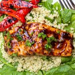 ceder planked salmon on bed of quinoa and spinach with grilled peppers p2
