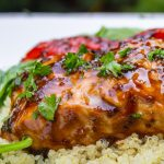 ceder planked salmon on bed of quinoa and spinach with grilled peppers p4