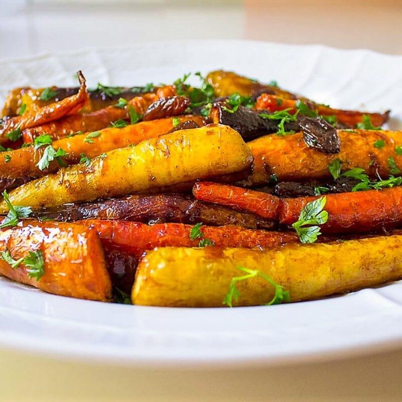 roasted glazed carrots on plate s
