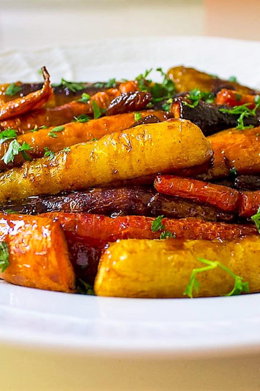 roasted glazed carrots on plate p