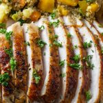 Sliced turkey breast with quinoa stuffing