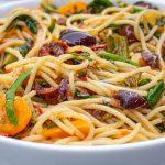 Mediterranean pasta in bowl side view p