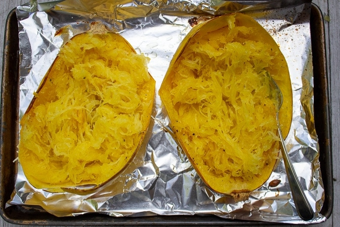 Spaghetti Squash baked with forked strands of squash
