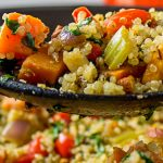 Vegetable Quinoa Stuffing scoop over stuffing bowl p