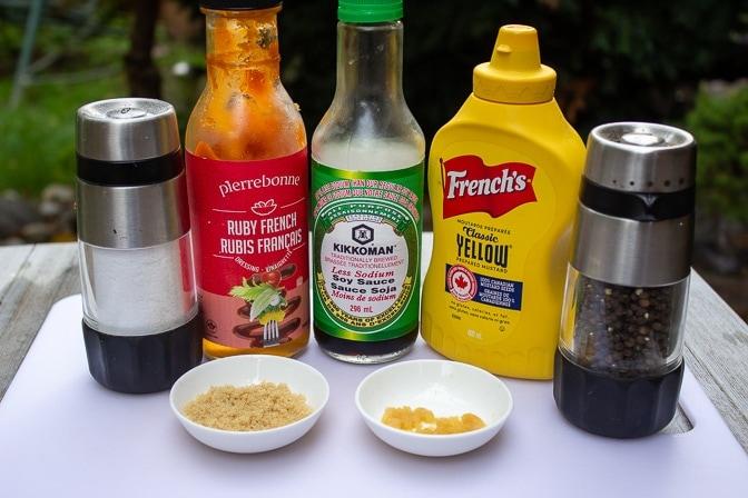 French dressing, mustard, soy sauce, garlic, brown sugar, salt, pepper