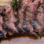 marinated flank steak sliced on cutting board p3