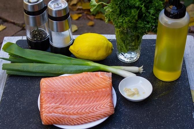 raw salmon, green onion, garlic, parsley, lemon, oil, salt, pepper