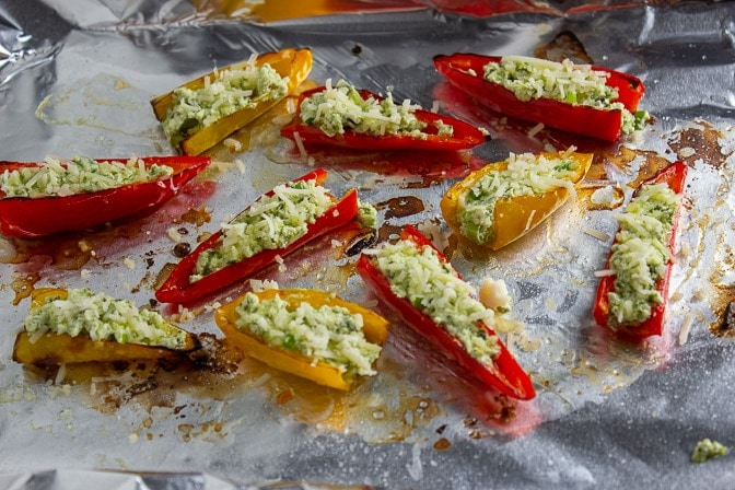 Stuffed Mini Peppers With Goat Cheese on pan ready for baking