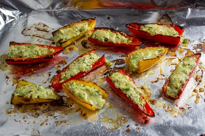 Stuffed Mini Peppers With Goat Cheese on pan out of oven
