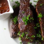 Sous Vide Short Ribs (Boneless Beef) whole on plate after broiling p1