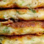 4 Mashed Potato Pancakes on board stacked p3