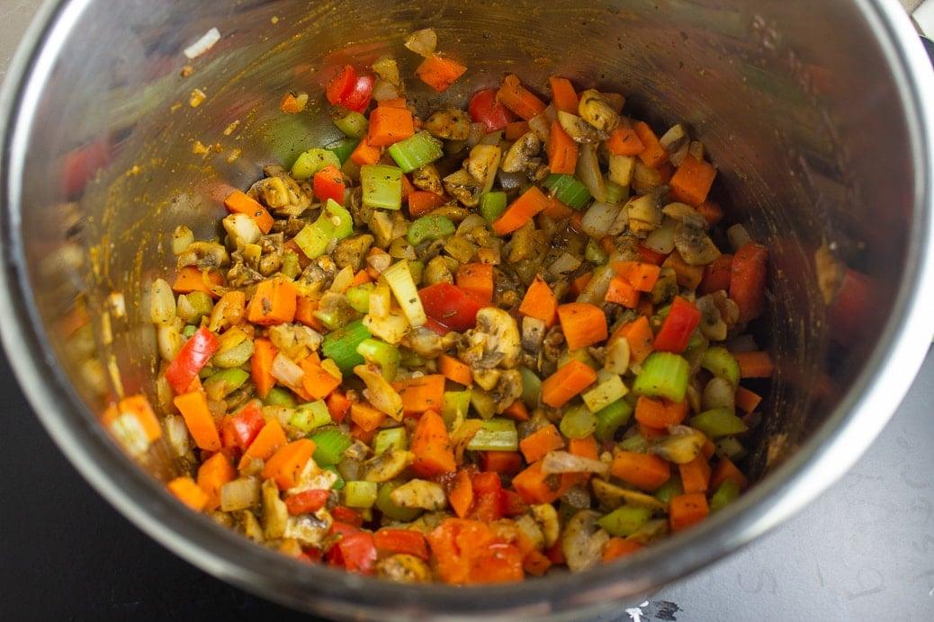 veggies sauteed in instant pot with seasonings