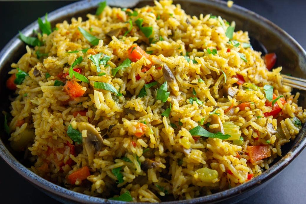 Vegetable Rice in bowl close up