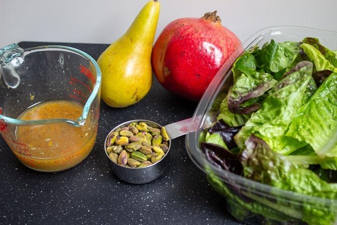 gem lettuce, pomegranate, pistahios, pear citrus dressing