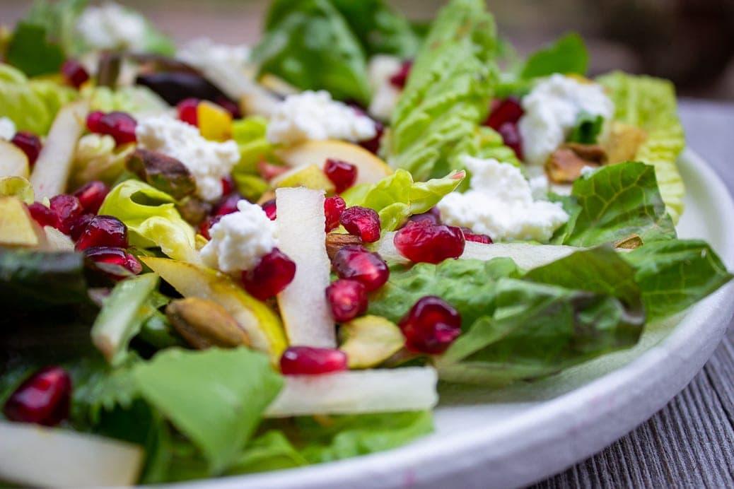 winter salad on plate close up