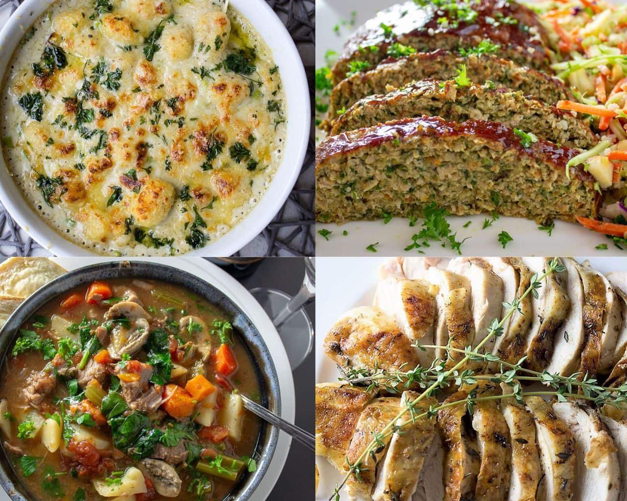 4 comfort food images - gnocchi, meatloaf, sliced roast chicken and veal stew
