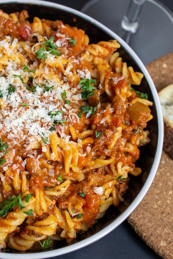 bowl of vegetarian bolognese