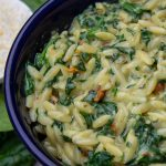 Parmesan Orzo with spinach in a bowl p2