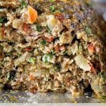 close up of healthy meatloaf piece on pan p2