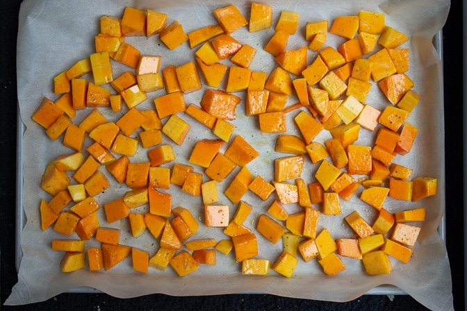 butternut squash on pan ready for roasting