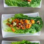 3 Butternut Squash Salad Cups each on a salad plate sitting on table p1