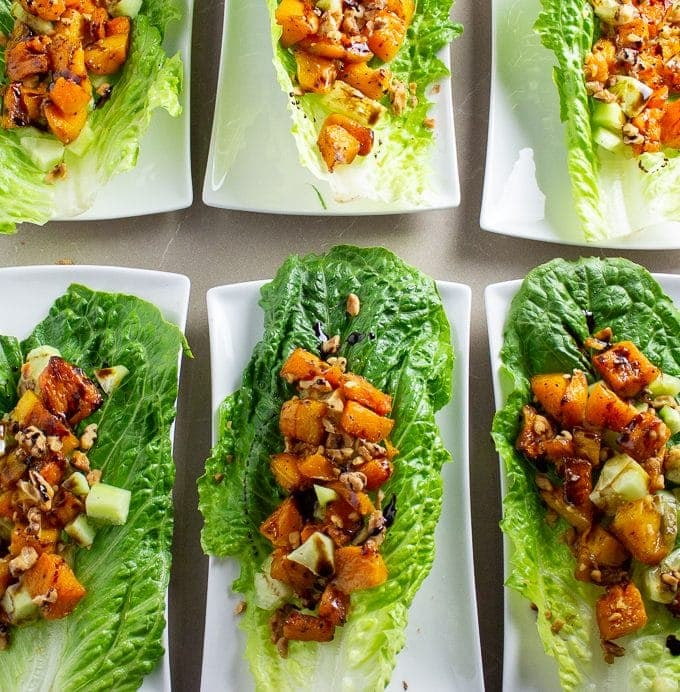 6 Butternut Squash Salad Cups each on a salad plate sitting on table 3
