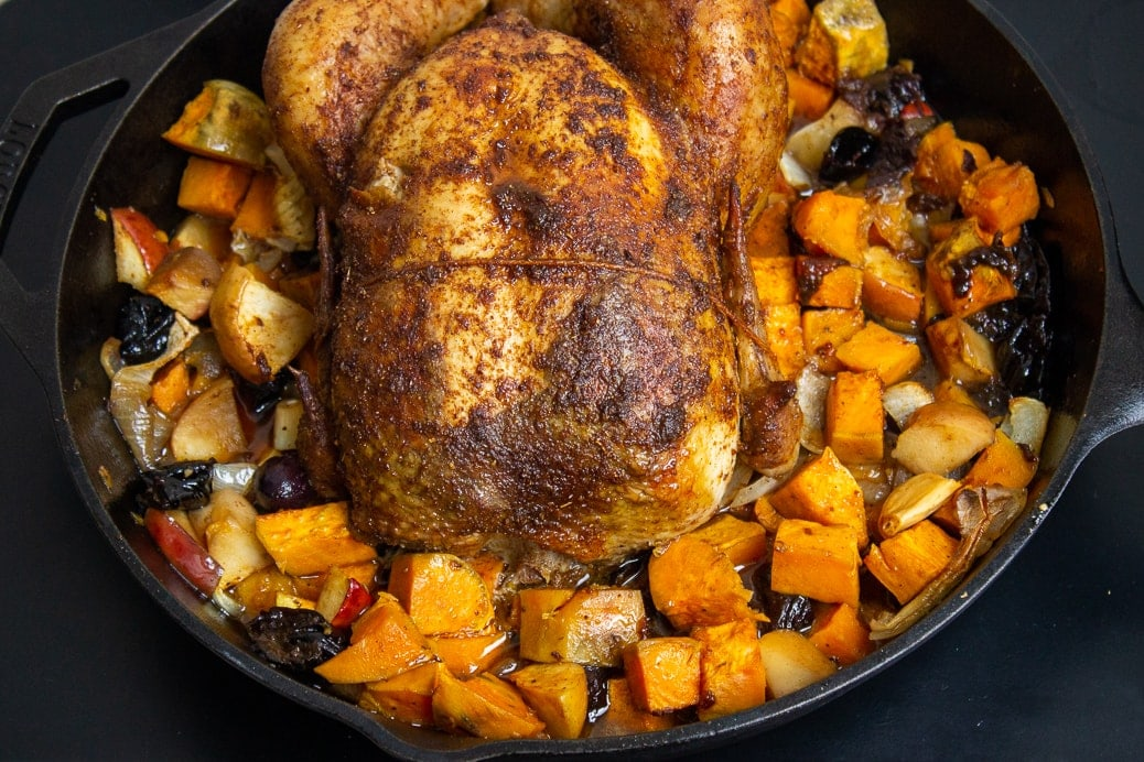 roasted Moroccan chicken with veggies and fruit in skillet 5