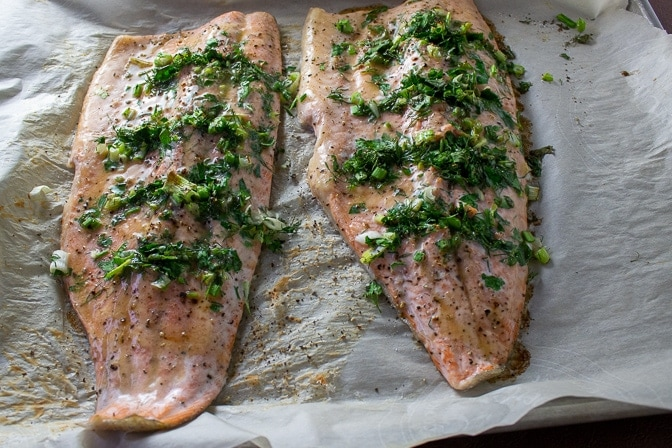 2 Lemon Herb Baked Trout fillets on baking pan 2