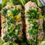 two Lemon Herb Baked Trout fillets on boy choy on plate p2