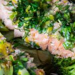 two Lemon Herb Baked Trout fillets on boy choy on plate p