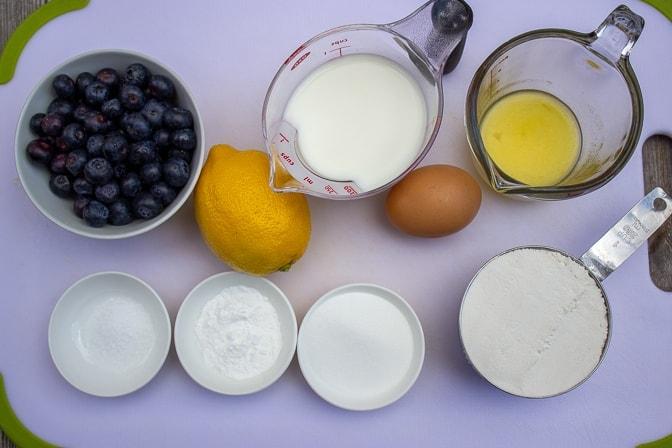 blueberries, lemon, milk, melted butter, egg, salt, sugar, baking powder, flour