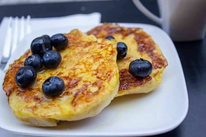 English muffin french toast with blueberries