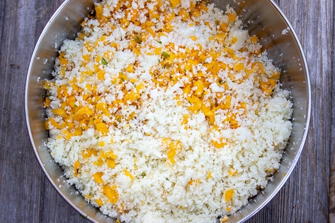 processed rice size cauliflower and butternut squashed in a bowl