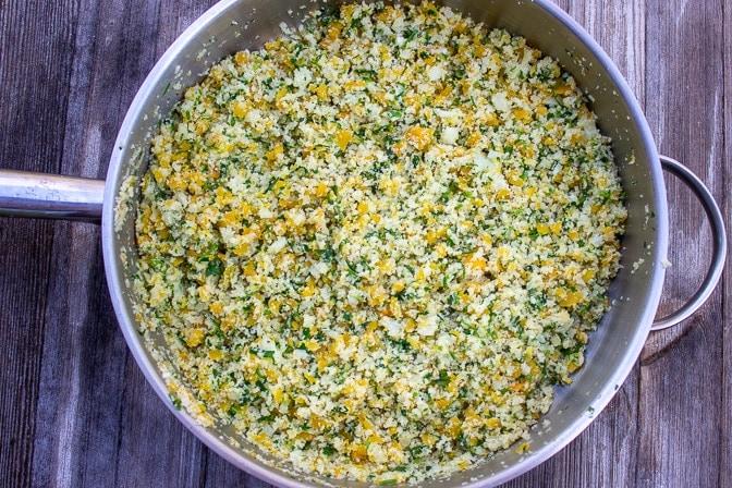 Lemon herb Cauliflower rice in a pan