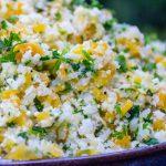 Lemon herb Cauliflower rice in a bowl side view p4