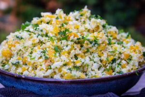 Lemon herb Cauliflower rice in a bowl side view f