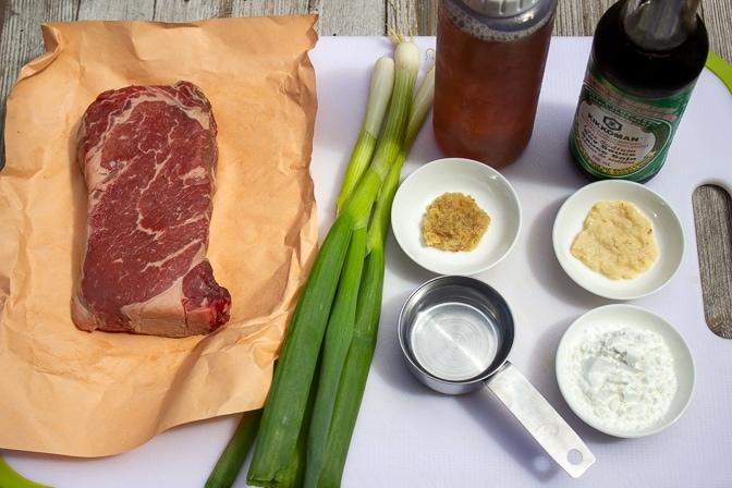 steak, green onion, water, cornstarch, maple syrup, soy, ginger, garlic