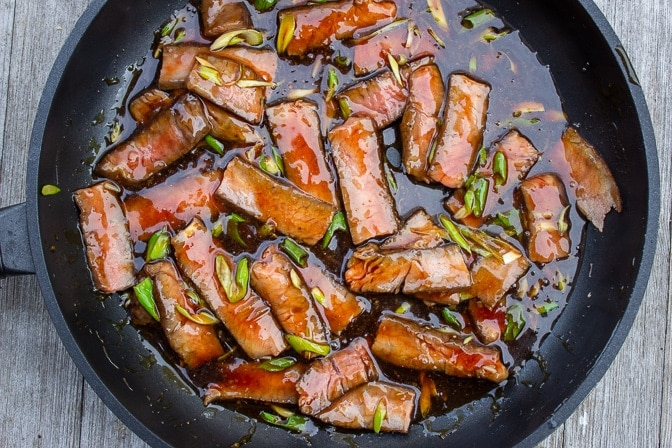mongolian beef in pan ready to serve