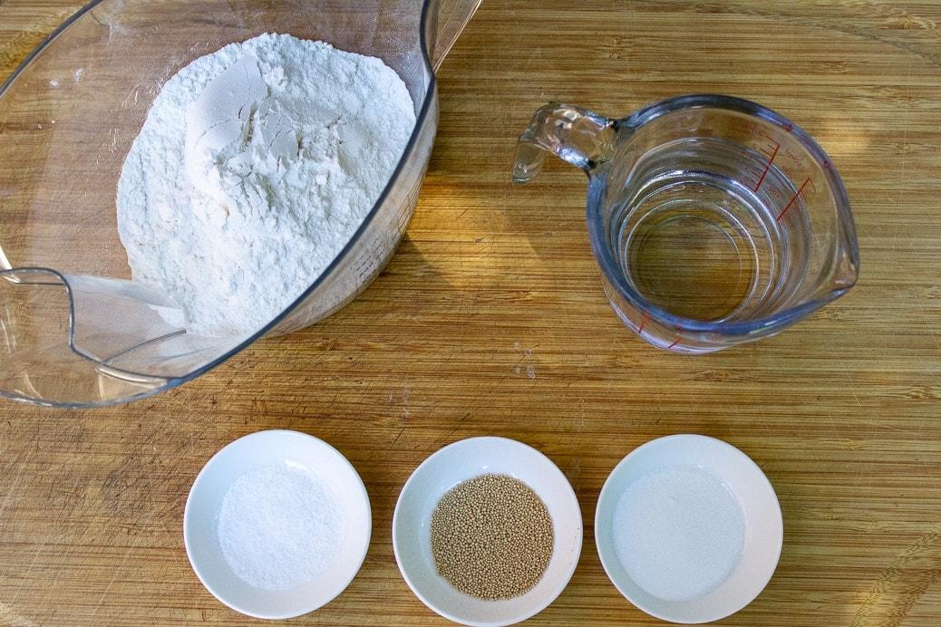 flour, salt, sugar, yeast, water