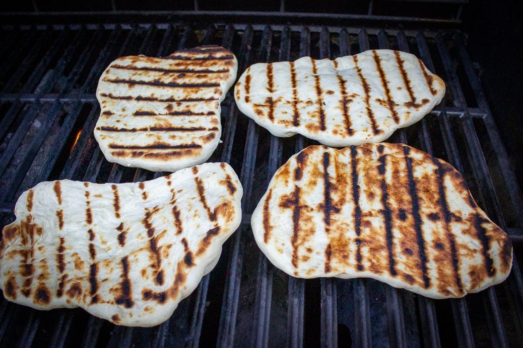 4 naan on grill