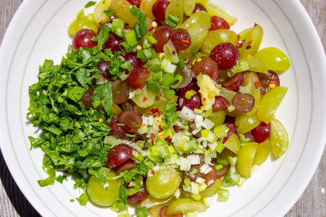 grape salsa ingredients in a bowl