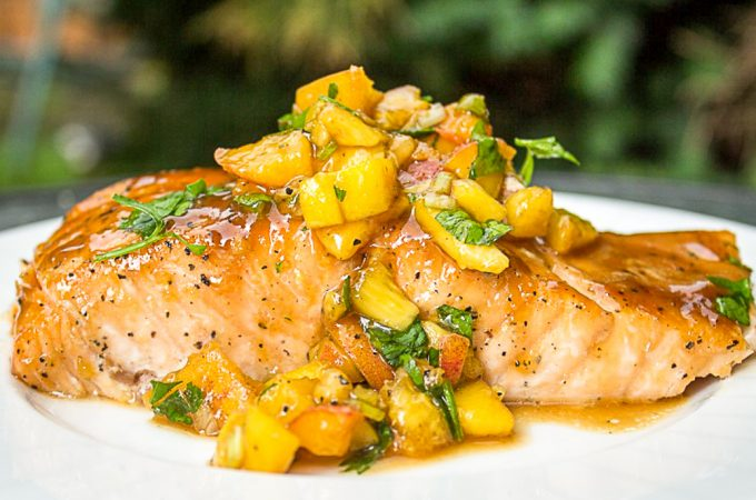 one maple salmon with peach salsa on plate ff