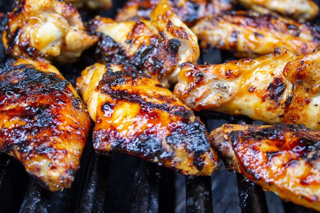 glazed wings cooked on grill
