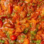 cherry tomato sauce in pan p